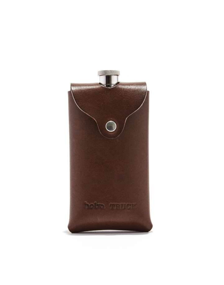 hobo×TRUCK Stainless Steel Flask with Oiled Leather Case